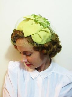 Vintage Hat: Topper with Green Flowers and Veil by FairSails