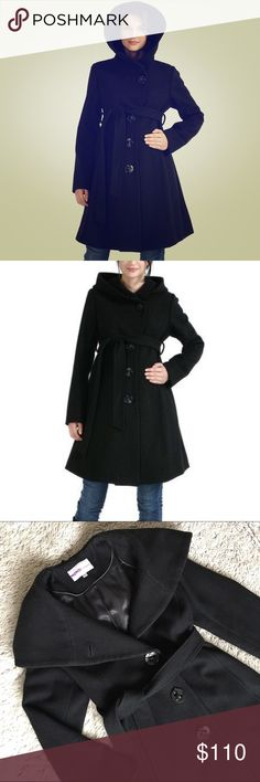 Momo Maternity Wool Blend Coat☃️ Beautiful black wool blend coat by Momo Maternity. I loved this coat. It's sooo flattering and can be worn through the many stages of pregnancy. Has 4 large buttons down the front and a tie waist, worn over your bump. Two side slot pockets with a fully lined interior. 80% wool and 20% polyester blend. Some light piling around the interior neck line and sleeves, but I'm confident  it can easily be removed with a clothing shaver. Momo Maternity Jackets & Coats…