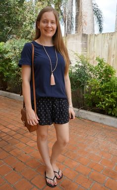 4e9073a4689a navy tee and black printed shorts summer style Jeanswest with tan camera  bag