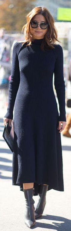 Navy Maxi Sweater Dress Fall Inspo by Because Im Addicted