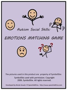 AUTISM SOCIAL SKILLS: Emotions Matching Game #autism Feelings Activities, Social Skills Activities, Autism Activities, Social Skills Autism, Teaching Social Skills, Emotions Cards, Feelings And Emotions, Speech Therapy Autism, Special Education Behavior