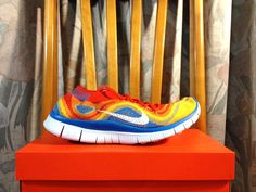 official photos 204dc 2c8ae Nike Free Flyknit 5.0 Vivid Orange Lemon Yellow Bright Blue Best On Feet  615805 818 Soccer