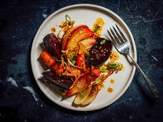 Roasted Root Vegetables With Sweet Lime Dressing Recipe | Serious Eats Roasted Shallots, Roasted Beets, Vegetable Sides, Vegetable Recipes, Vegetarian Recipes, Cooking Recipes, Healthy Recipes, Roasted Root Vegetables