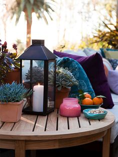 Include a few larger end tables in your layout to provide extra surfaces for guests to set drinks and plates: http://www.bhg.com/home-improvement/patio/designs/decorating-patio-ideas/?socsrc=bhgpin060214anticipateforextras&page=7