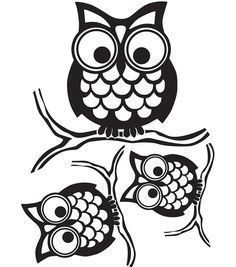 Give A Hoot Small Wall Art Kit - How fun are these owls? Small enough to be perched anywhere in your home, these wise owl stickers have a retro design, and will look smart in any room. Give a Hoot Kit Silhouette Cameo Projects, Silhouette Design, Vinyl Crafts, Vinyl Projects, Silhouette Portrait, Owl Art, Digi Stamps, Stencils, Owl Stencil