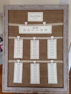 Table plan. Hessian, lace and string