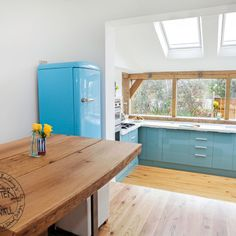 Contemporary oak frame extension with sky lights and glazing Garden Room Extensions, House Extensions, Small Laundry Rooms, Laundry Room Design, Oak Framed Extensions, Timber Kitchen, Kitchen Conversion, Open Plan Kitchen Diner, Home Improvement