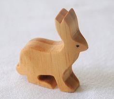 Carved Wooden RABBIT Bunny Jackrabbit, Handmade Toy Animal, Waldorf Inspired