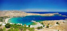 Blick auf die traumhafte Bucht von Lindos auf Rhodos
