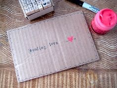 Sending love - simple postcard made from a cut-up box.