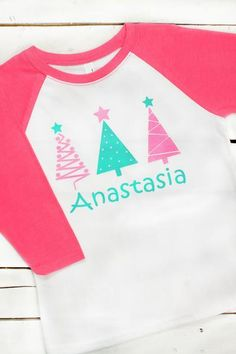 Girls will feel festive in this pretty Christmas Tree raglan!