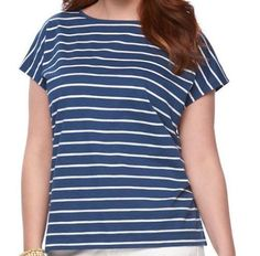 c6b32f077e6 Details about Women Plus Size CHAPS Striped Dolman Short Sleeve Bar Back  Tee Top Navy 1X 2X 3X