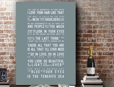Ed Sheeran Lyrics Tenerife Sea Music Wall Art Song Lyrics Home Decor Anniversary Gift Wedding Gift Typography Black White Lyric PRINT by VelvetPrint on Etsy https://www.etsy.com/listing/257579549/ed-sheeran-lyrics-tenerife-sea-music