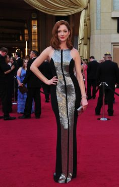Oscars 2012, Judy Greer with another view of the silver-striped dress by Monique Lhuillier.