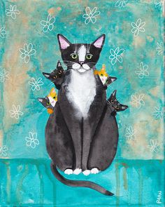 Mom Cat and Her Kittens  Original Folk Art Mother's Day painting by KilkennycatArt