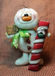 Friends Who Stick Together Pattern - Primitive Doll Pattern - Winter - Christmas - Snowman - Peppermint Stick - Candy Cane Felt Christmas, Christmas Snowman, Christmas Projects, Winter Christmas, Christmas Time, Xmas, Christmas Ornaments, Winter Snow, Primitive Doll Patterns