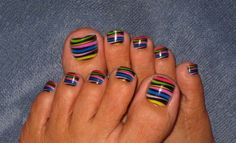 Nowadays, Not only fingernails but also toenails are considered important points of beauty for women. Toe nails designs look very pretty and chic as the way they do on our finger nails. From easy and simple to fun and colorful, there must be something spe Cute Toenail Designs, Pedicure Designs, Pretty Nail Designs, Simple Nail Art Designs, Easy Nail Art, Summer Toenail Designs, Pedicure Ideas, Nail Ideas, Toe Nail Art