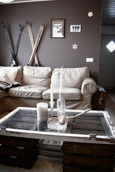 window + trunks = coffee table ... Really like this, but I think I'd get rid of the hinges, lol