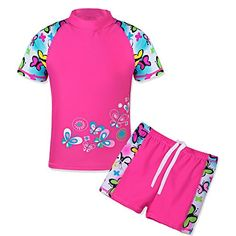 Collager Baby//Toddler Girls Long Sleeve Swimsuit Kids Two Pieces Rash Guard Sunsuit with Hat UPF 50 UV 1-6Years