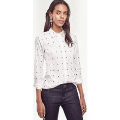 Ann Taylor Petite Embroidered Dot Perfect Shirt ($80) ❤ liked on Polyvore featuring tops, white, long-sleeve crop tops, white top, white button up shirt, white embroidered top and long sleeve button down shirts