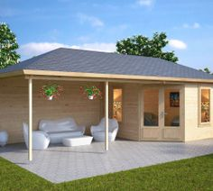 Garden Room Sophia with Veranda / / x 8 m - Featured on Love Your Garden with Alan Titchmarsh – Summer House 24 - Garden buildings - Backyard Sheds, Backyard Patio, Garden Sheds, Summer House Garden, Home And Garden, Summer Houses, Wooden Summer House, Garden Log Cabins, Contemporary Garden Rooms