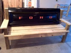Black Ford Tailgate bench by TailgateGuy on Etsy, $350.00
