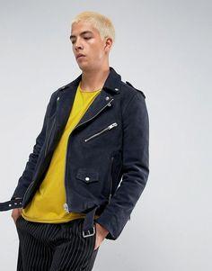 #ASOS - #Selected Homme Selected Homme+ Suede Biker Jacket - Navy - AdoreWe.com