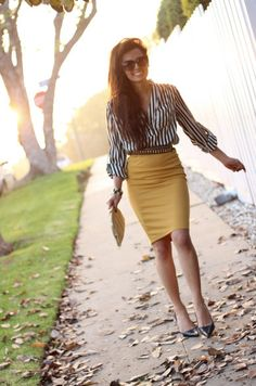 I'm definitely going to try a version of this pattern + bold color pencil skirt look. Yellow Pencil Skirt by CarouselsAndLace Fashion Mode, Office Fashion, Work Fashion, Womens Fashion, Paris Fashion, Fashion Fashion, Runway Fashion, Fashion Trends, Skirt Outfits