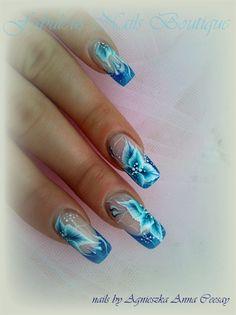 BLUE LEAVES by Agusia - Nail Art Gallery nailartgallery.nailsmag.com by Nails Magazine www.nailsmag.com #nailart