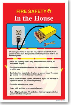 Health and safety posters on pinterest classroom for Fire safety house