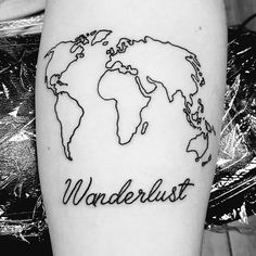 World map wanderlust tattoo