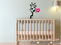 Vinyl Wall Art / Stickers - Giraffe with Flower - Vinyl Wall Art