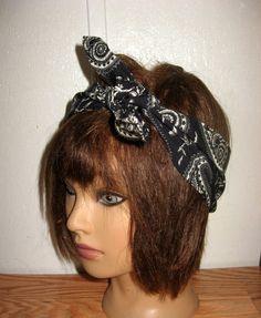 Hair Bandana, PinUp Hair, Ladie's Black Hairband, Bandana Dread Wrap, Fabric Hair Band, Bohemian Bandana, RockaBilly HairBand,#243 by StitchesByAlida on Etsy