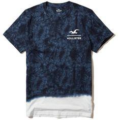 Mens Designer Blue Tie Dyed Front Pocket Crew Round Neck Tee T Shirt Top S-XL