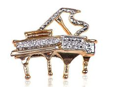 Crystal Embedded Rhinestone Gold Tone Musical Piano Costume Fashion Pin Brooch Alilang. $8.99