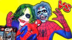 SPIDERMAN ZOMBIE JOKER Star Wars LEGO In Real Life Spiderman vs Zombie B...