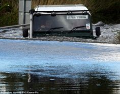 In deep water: A #LandRover driver braves 4ft of water in Billericay, Essex