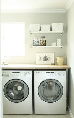 Laundry Shelves - Contemporary - laundry room - House & Home Laundry Shelves, Laundry Room Storage, Laundry Room Design, Laundry In Bathroom, Open Shelves, Laundry Rooms, Laundry Area, Floating Shelves, White Shelves