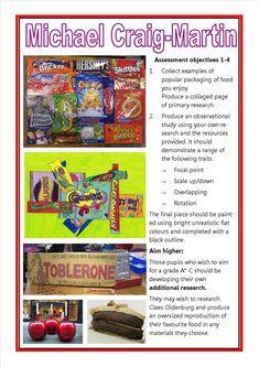 Michael Craig Martin GCSE art Checklist Gcse Art Sketchbook, Sketchbooks, Pop Art Food, Sweets Art, Close Up Art, Michael Craig, Artist Project, Art Worksheets, Arts Ed