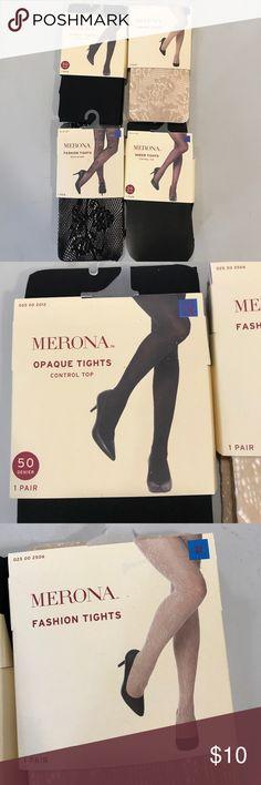 NWT Merona Fashion Tights Bundle...sz1X..4 pairs NWT Merona Fashion Tights Bundle...sz1X..4 pairs...see size chart... Merona Accessories Hosiery & Socks