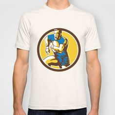 Buy Rugby Player Running Goose Steps Circle Retro by Patrimonio as a high quality T-shirt. Worldwide shipping available at Society6.com. Just one of…