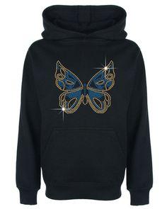 Butterfly Rhinestone / Diamante Embellished Kids' Hoodie 3 to 13 Years Unisex #GuildenFDMFruitOfTheLoomorequivalent #Hoodie