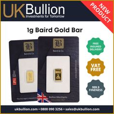 ⚠️ NEW PRODUCT ⚠️: 1g Baird Gold Bar.⠀ 🛒 Visit our website to purchase this product.⠀ Mint Gold, Gold Bullion, Carat Gold, New Product, Investing, Bar, Website