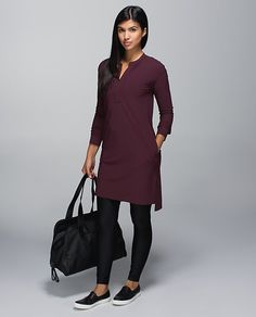 This was exactly my last plane outfit. Dress by Lululemon. Looks great over a Lulu tank and yoga pants.