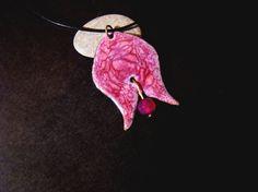Deep pink tulip  copper enamel pendant handmade unique by bambusz