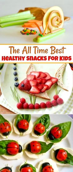 Healthy Snacks For Kids - Looking for after school snacks the kids will love? These fun snacks resembling fruit animals and veggie insects make the perfect snacks for kids #snacksforkids #healthysnacks #snacks