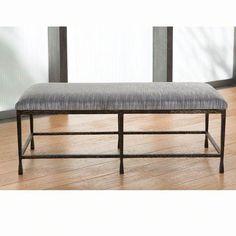 Studio A Quad Pod Natural Iron Bench with Muslin Cushion