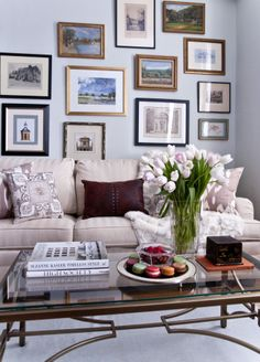 Gallery wall, tulips, macarons, fur and sunshine! Interior design by Angela Leland Interiors