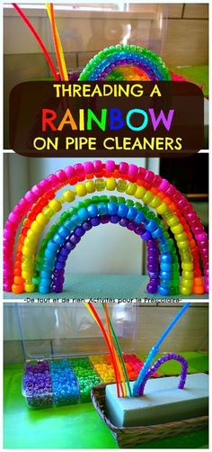 Threading a rainbow on pipe cleaners. Color matching, fine motor skills and eye hand coordination all in one activity!
