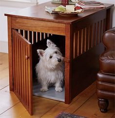dog kennel that doubles as furniture, such a cool idea